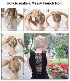 How to make a Messy French Roll hair tutorial - updo. I'm sure this wont go as planned but sure, ill try. French Roll Hairstyle, French Twist Hair, Love Hair, Gorgeous Hair, Pretty Hairstyles, Wedding Hairstyles, Hairstyles 2016, Coiffure Hair, Ponytail Hairstyles Tutorial