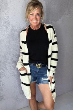 Coffee House Black Stripe Cardigan – Melissa Jean Boutique Striped Cardigan, Sweater Cardigan, Black House, Black Cream, Black Stripes, Boutique, Coffee, Fabric, Sweaters