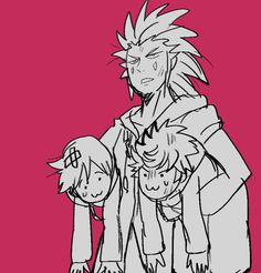 Axel, Roxas, and Xion. Apparently Roxas and Xion have been up to no good.