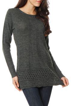 great long sweater with leggings. Looks so warm and comfortable.