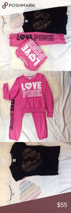 Victorias Secret PINK sweats & 2 T Shirts M/L Sweatshirt is Large, bottoms are Medium.  One large and 1 medium Tshirt. Rarely worn, in excellent condition from immaculate, non-smoking home. PINK Victoria's Secret Tops Sweatshirts & Hoodies