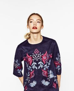 EMBROIDERED SUEDE EFFECT BLOUSE-View all-TOPS-WOMAN | ZARA United States