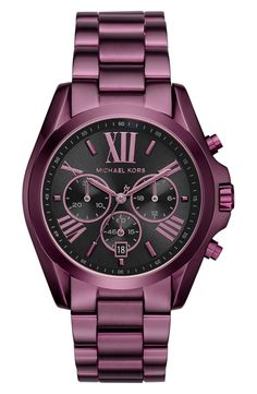 Currently crushing on this Michael Kors watch in a bold plum color with a black dial.