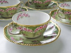 Antique Limoges Cream Soup Cups & Saucers, 1900 - 1914, France!