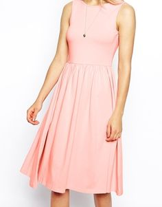 Image 3 of ASOS Midi Skater Dress with Scoop Back