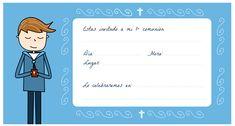 Tarjetas de comunión para imprimir - Manualidades First Communion, Family Guy, Invitations, Comics, Children, Gifts, Fictional Characters, Flower Girls, Mayo