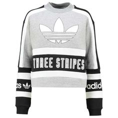 adidas Originals Sweatshirt grey/black ❤ liked on Polyvore featuring tops, hoodies, sweatshirts, grey sweatshirt, gray sweatshirt, adidas originals, gray top and grey top