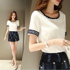 Barato 2015 moda Chiffon Blusa de renda blusas Plus tamanho mulheres roupas…
