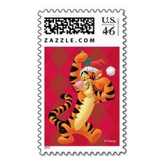 Holiday Tigger Postage Stamps