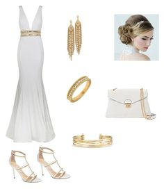 """""""White and Gold Gala"""" by tessasantelli ❤ liked on Polyvore featuring Jovani, Jimmy Choo, Mellow World, Stella & Dot, Capwell + Co and Lord & Taylor"""
