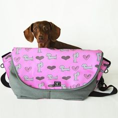 Pink Dachshund Full Size Diaper Bag - modeled by @ScrappyTheDoxie