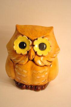 1970s Handpainted Flower Owl Statue Vintage by ScavengersVintage, $14.00