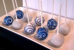 Dark Blue and Silver Cake Pops. I should make these next Christmas - these are my colors.