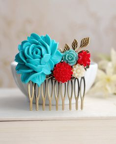 Large Turquoise Blue Rose Red Ivory Flowers Collage Hair Comb. Blue and Red Wedding Bridal Hair Comb, Bridesmaid Gift, Country Cottage on Etsy, $24.00