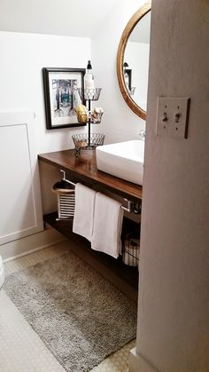 You paid more than me: Big makeover for a TINY bathroom! great idea for small sp. - You paid more than me: Big makeover for a TINY bathroom! great idea for small space bathroom - Diy Bathroom Vanity, Diy Vanity, Diy Bathroom Remodel, Bathroom Renos, Bathroom Shelves, Bathroom Remodeling, Bathroom Furniture, Bad Inspiration, Bathroom Inspiration