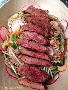 Asian Noodle Salad with Pan Seared Scotch Fillets Recipe - RecipeYum