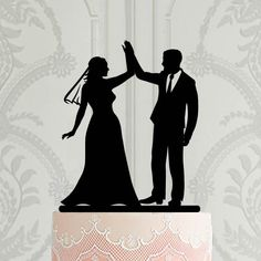 Wedding cake topper , Bride with veil cake topper, high Five cake toppper, Acrylic wedding decor, Modern cake decoration Gay Wedding Cakes, Wedding Cake Decorations, Wedding Cake Toppers, Personalized Cake Toppers, Custom Cake Toppers, Custom Cakes, Modern Cakes, High Five, Holiday Time