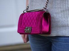 Chanel Boy Bag: Fuschia Velvet
