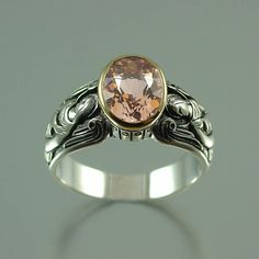 Guardian Angels silver and 14K gold ring with Morganite $375.00