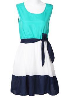 Green White Navy Sleeveless Belt Chiffon Dress