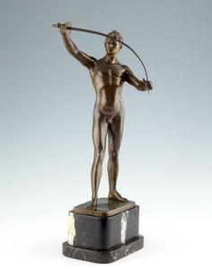 Auguste Durin Degen Fechter Männlicher Akt um 1920 Bronze Figur Skulptur Statue