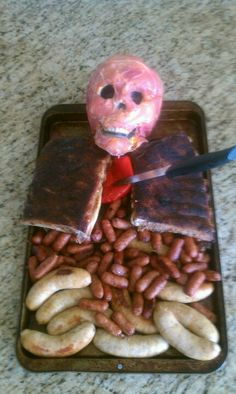 Zombie's favorite food for Halloween Witch Doctor Costume, Fall Food, Zombies, Party Games, Fall Recipes, Monsters, Sausage, Favorite Recipes, Holidays