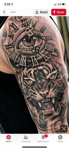 Dope Tattoos, Tattoos Arm Mann, Bild Tattoos, Arm Tattoos For Guys, Leg Tattoos, Animal Sleeve Tattoo, Lion Tattoo Sleeves, Best Sleeve Tattoos, Full Sleeve Tattoo Design