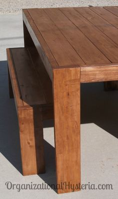My Modern Farmhouse Table & Bench Seats -  DIY with plans