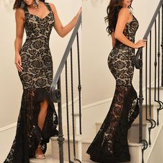 Black Lace Nude Illusion Fishtail Party Dress