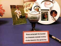 A ball for guests to autograph as they came in.  A keepsake for the mom-to-be!