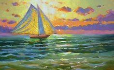 SALE Sea Sunset  Original oil painting on canvas by by spirosart
