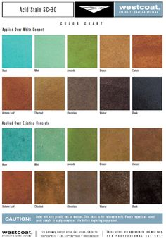 Acid staining coloring options available from Westcoat.