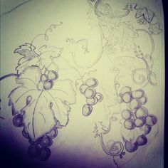 Grape vine sleeve tattoo sketch... this is a bit more whimsical than I want but I like the concept.