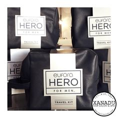 It's never too early to start holiday shopping for the #HERO in your life. These travel bags include a #Eufora Hero for Men Complete Shampoo, Revitalizing Scalp Treatment & a Texture Putty for styling. Save 10% AND receive a super useful travel case for your #xanadude  #xanadu #xanadid #euforainternational @euforainternational #757hothair #chesapeake #hrva #menstyle #euforahero