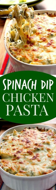 Cheesy Spinach Dip Chicken Pasta - your new favorite dinner! Spinach dip and pasta get together to create one cheesy and creamy dish! You need to make it!