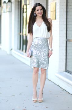 New Year's Outfit, NYE Outfit, Sequin Pencil Skirt, J. Crew Pencil Skirt, Stephanie Ziajka, Diary of a Debutante