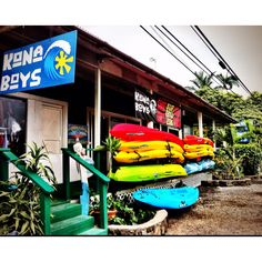 Kona Boys shop in Kealakekua, Hawaii....surf, standup, kayak, snorkel, canoe: rentals, lessons, tours, sales www.konaboys.com