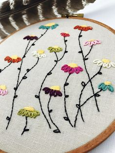 SALE Embroidery Hoop. Flowers. Wall Art. Hoop Art.