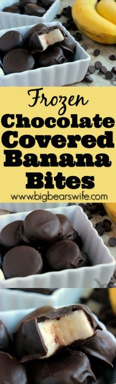Frozen Chocolate Covered Banana Bites - Love the Gone Bananas Chocolate Covered Bananas from Trader Joe? I do but I cant drive 2 hours to the store every time I get a craving for them! Homemade Frozen Chocolate Covered Banana Bites are so easy to make at Frozen Desserts, Healthy Desserts, Just Desserts, Delicious Desserts, Yummy Food, Frozen Appetizers, Vegan Appetizers, Frozen Treats, Fruit Recipes