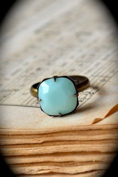 mint cushion cut ring