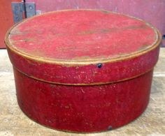old red painted pantry box