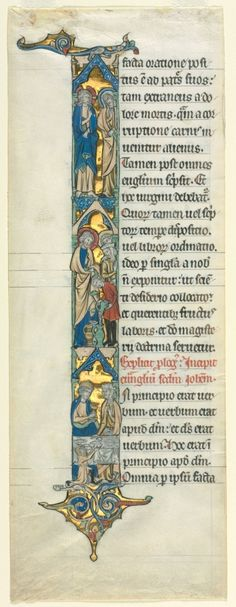 Northeastern France, Cambrai, 13th century, ink, tempera, and gold on vellum, Sheet: 42.00 x 15.30 cm (16 1/2 x 6 inches). Purchase from the J. H. Wade Fund 1952.565