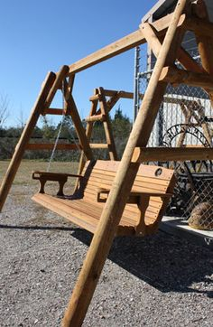 Rustic Wood Outdoor Furniture at Ironworks & More Near Houston