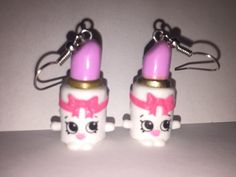 Shopkins Foodie Earrings  Ballet Lipstick  repurposed by ErinEtc