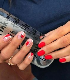 30 Best Spring Nail Designs Inspire Your Next Manicure Shellac Nails, Nail Manicure, Red Nails, Nail Polish, Pastel Nails, Bling Nails, Acrylic Nails, Nail Art Vernis, Nagellack Design