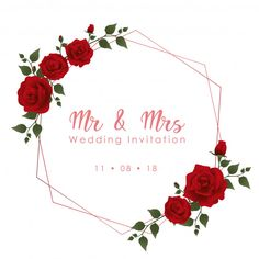 Zaproszenia ślubne czerwone róże Premium Wektorów Frame Floral, Rose Frame, Flower Frame, Love Quotes For Wedding, Mr And Mrs Wedding, Flower Background Wallpaper, Flower Backgrounds, Wedding Cards Images, Illustration Blume