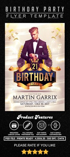#Birthday #Party #Flyer Template 1 - Clubs & Parties Events Download here: https://graphicriver.net/item/birthday-party-flyer-template-1/19757783?ref=alena994