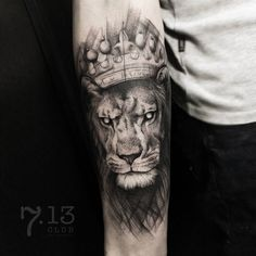 Lion With Crown Tattoo by @ira_deer