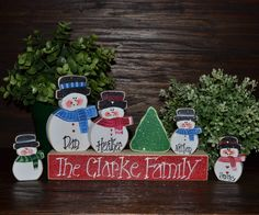 Christmas Decor Personalized Snowmen Family Block by BlocksOfLove1, $16.99