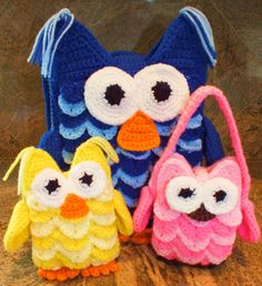 """""""Owl Backpack, Doll and Purse Patterns©"""" 1 Pattern to make all 3 + Crocodile Stitch Picture Tutorial"""